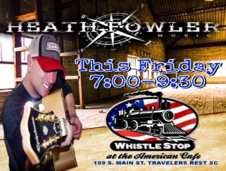 04/28/17 (Fri.) - Whistle Stop at the American Cafe: Live Music on the Roof w/ Heath Fowler (7 pm - 9:30 pm)